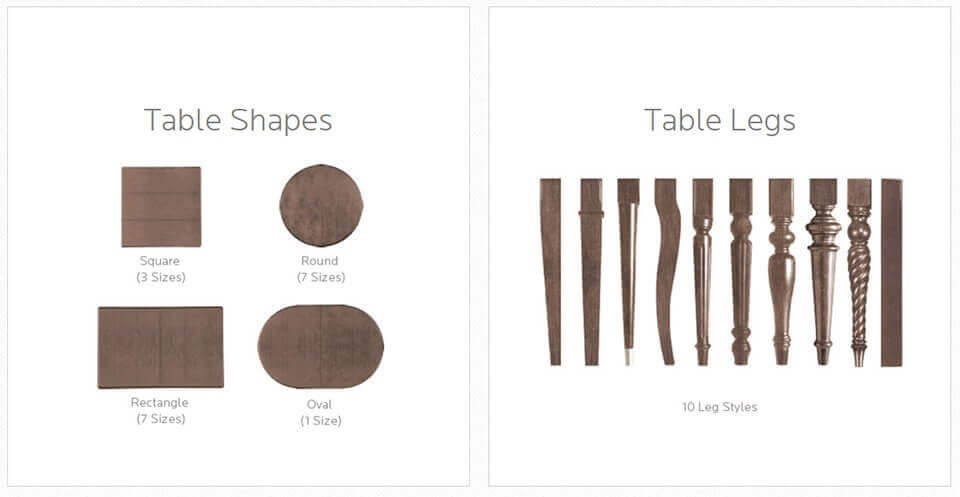 Table Shapes & Table Legs